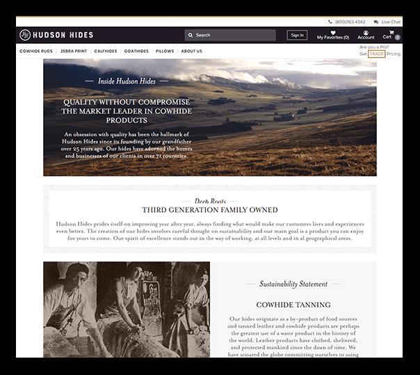 Hudson Hides Client Website - 1
