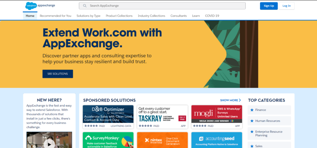 Appexchange home page image
