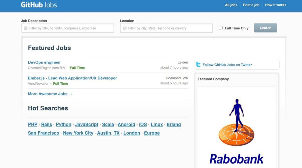 GitHub Jobs Home Page