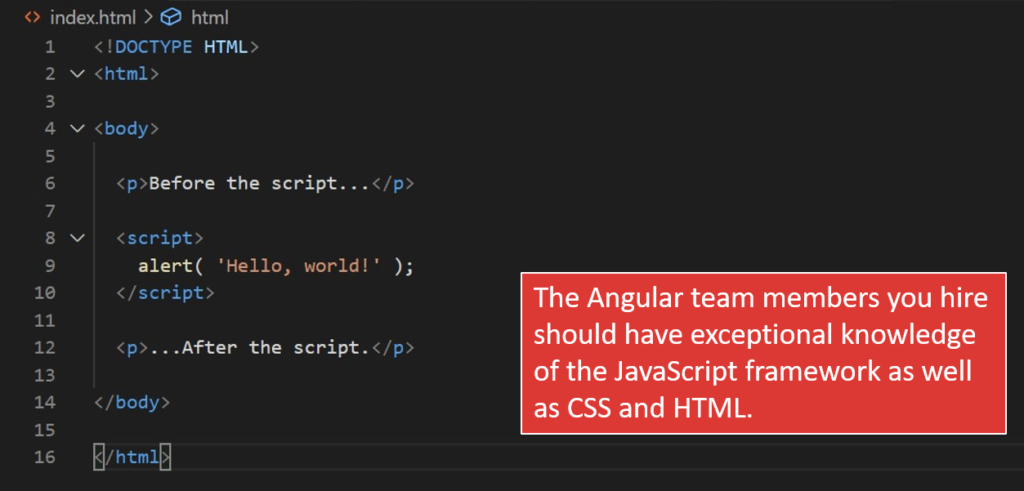 The Angular team you hire should have exceptional knowledge of the JavaScript framework as well as CSS and HTML