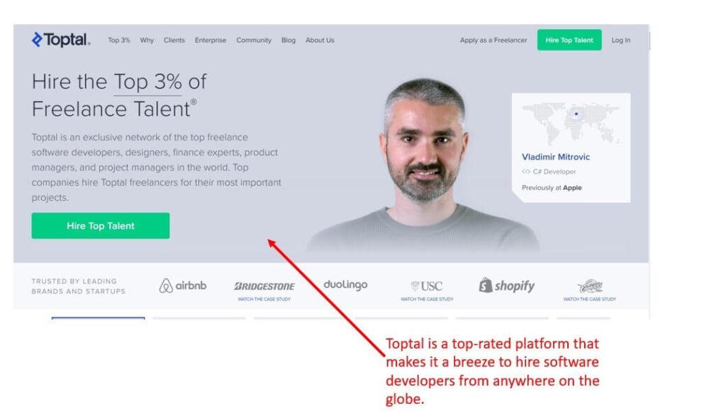 Toptal Website Home Page Image