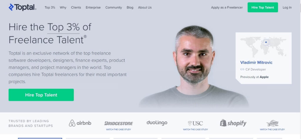 Toptal Home Page
