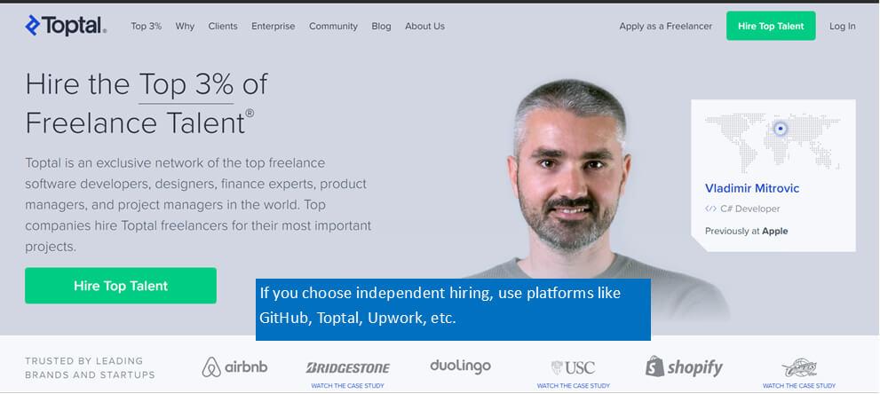 If you choose independent hiring, use platforms like GitHub, Toptal, UpWork, etc
